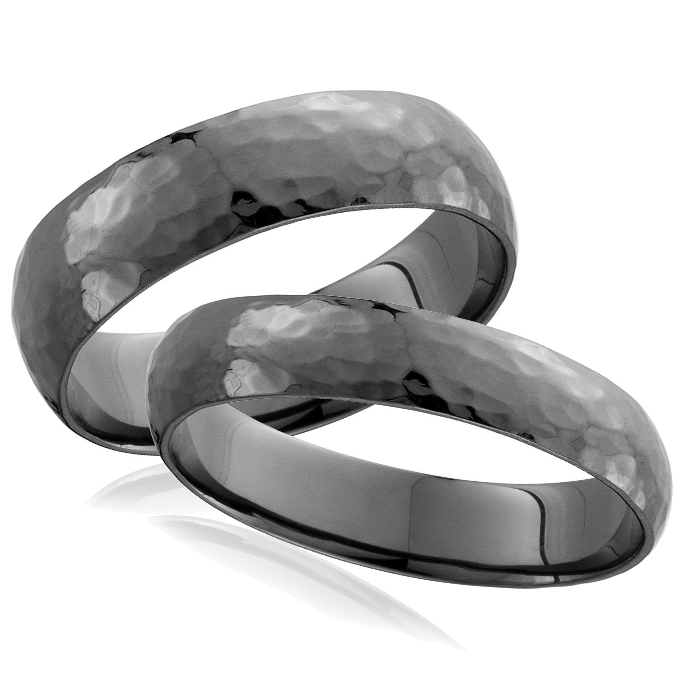 Matching Bands: Hammered Black Gold His Hers Matching Wedding Band Set