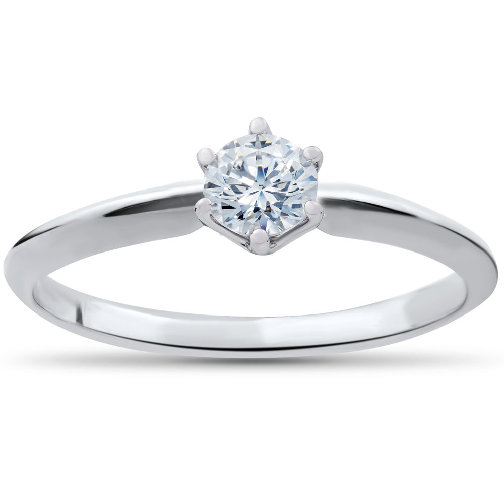 Solitaire Diamond Engagement Ring 1 4ct 14k White Gold Round Brilliant Cut