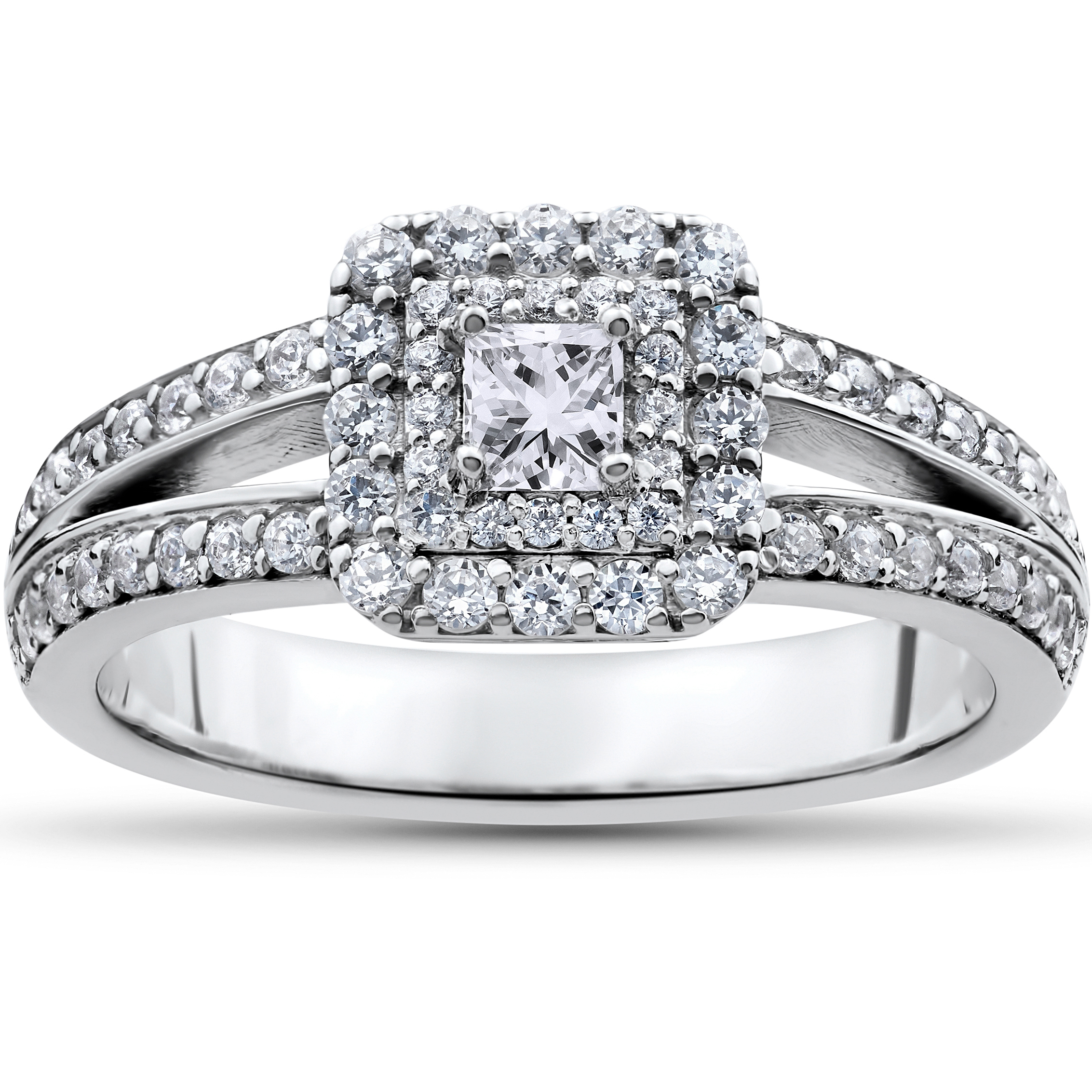1 ct Princess Cut Diamond Double Halo Engagement Ring 14k White
