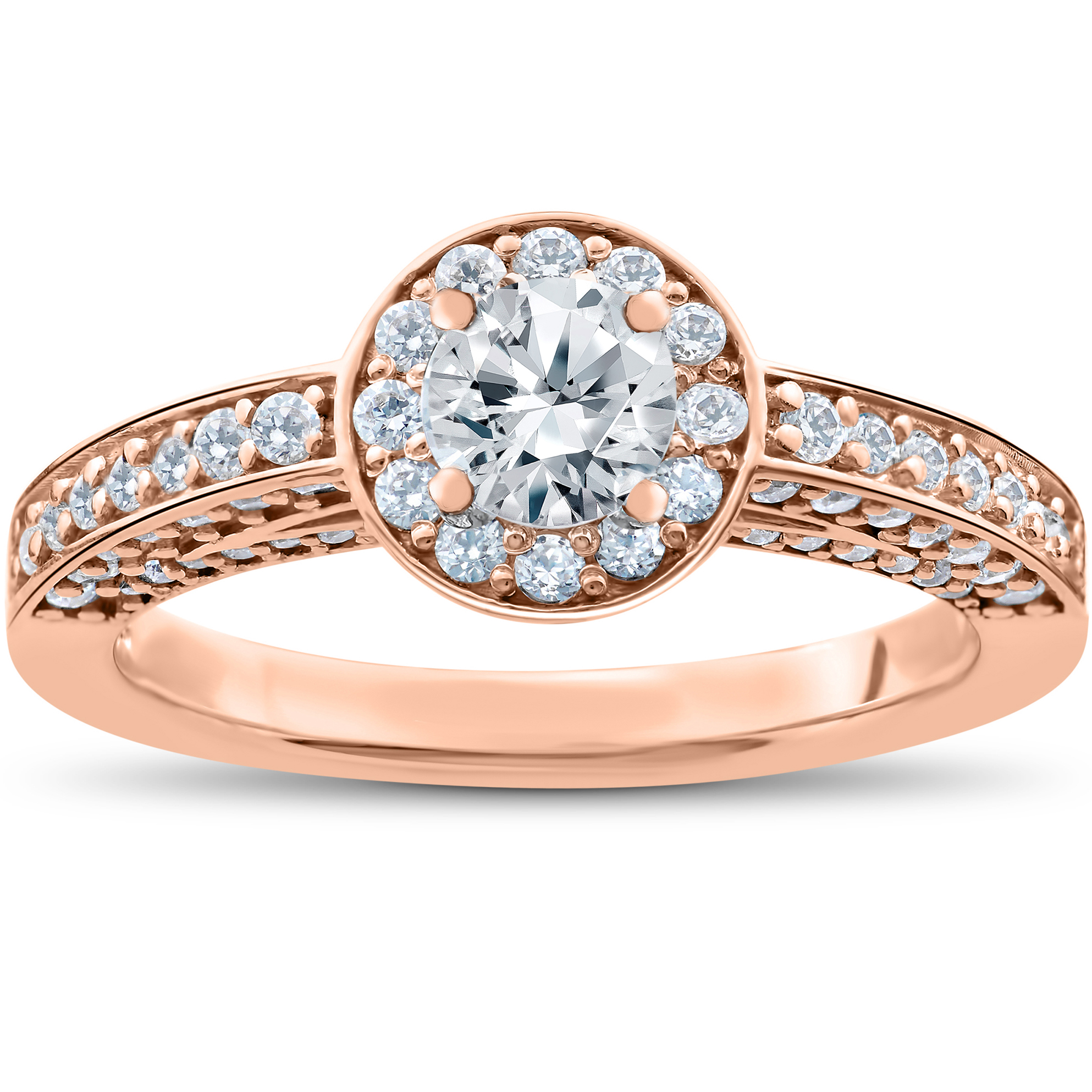 1 ct Diamond Halo Solitaire Engagement Ring 14k Rose Gold