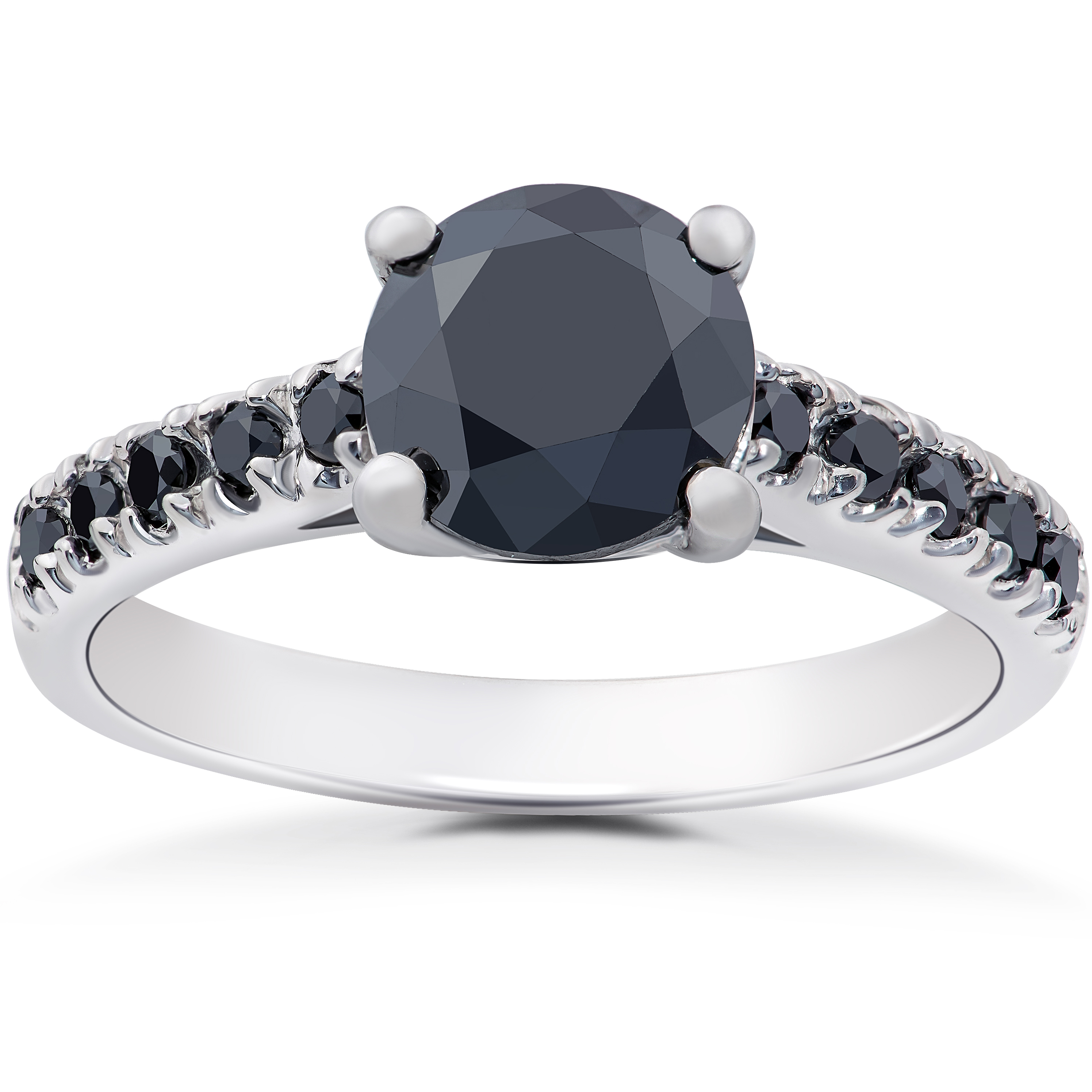 Details about 2 1/4 ct Black Diamond Solitaire Accent Engagement Ring 14k  White Gold