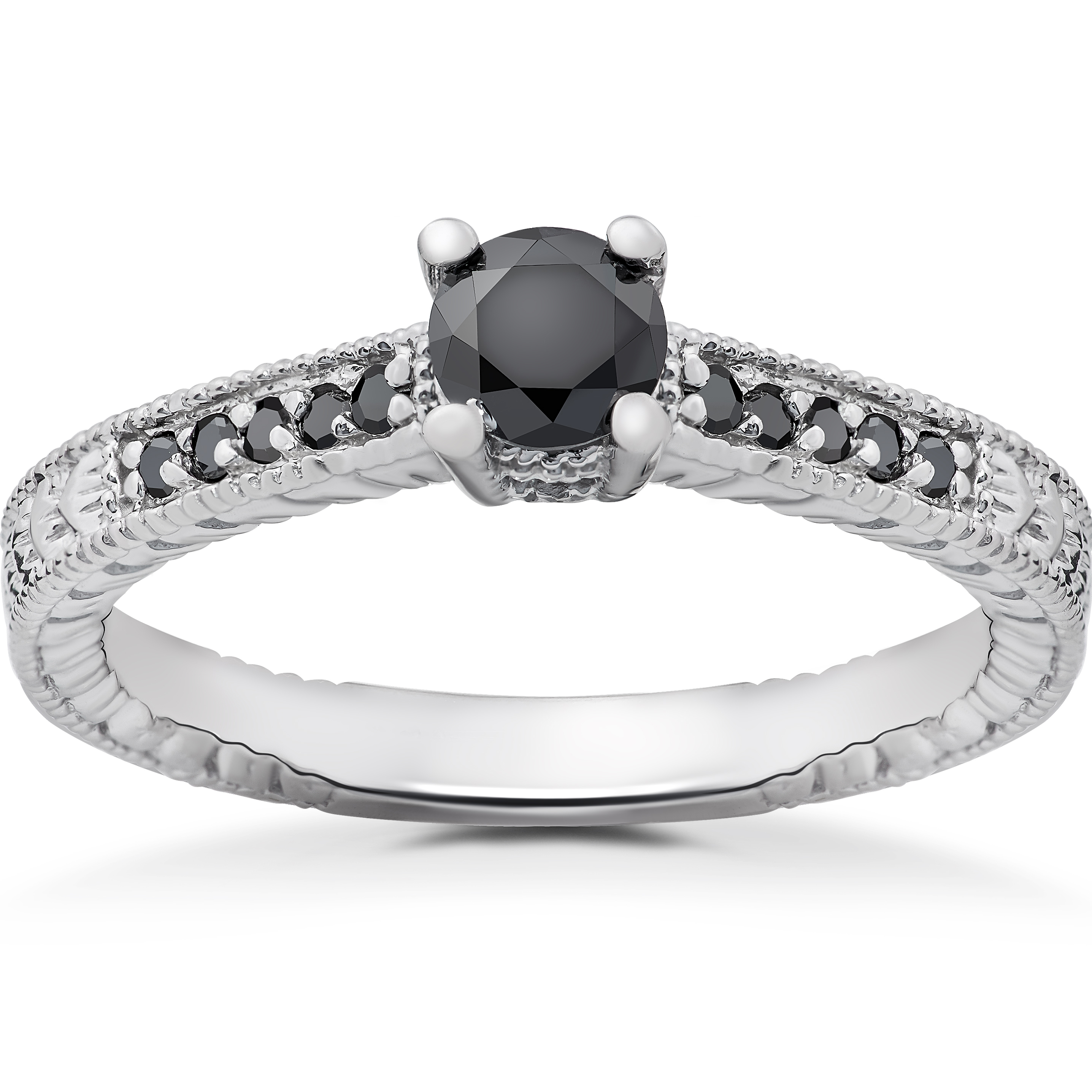 1 2 ct black diamond vintage engagement ring 14k white. Black Bedroom Furniture Sets. Home Design Ideas