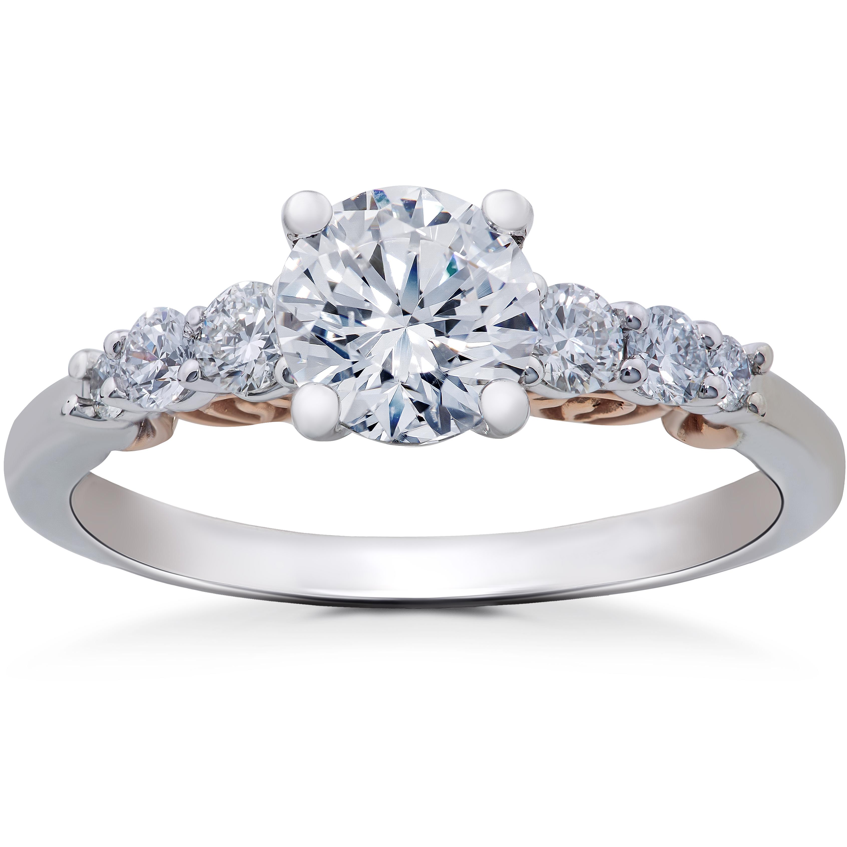 8f2389b0cab69 1 1/4 ct Diamond Lab Grown Vintage Engagement Ring 14K White & Rose ...