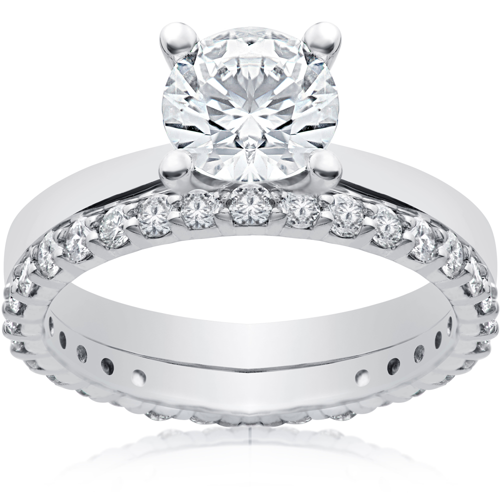 3/4ct Diamond Gabriella Engagement Ring Setting & Matching Eternity Wedding Band
