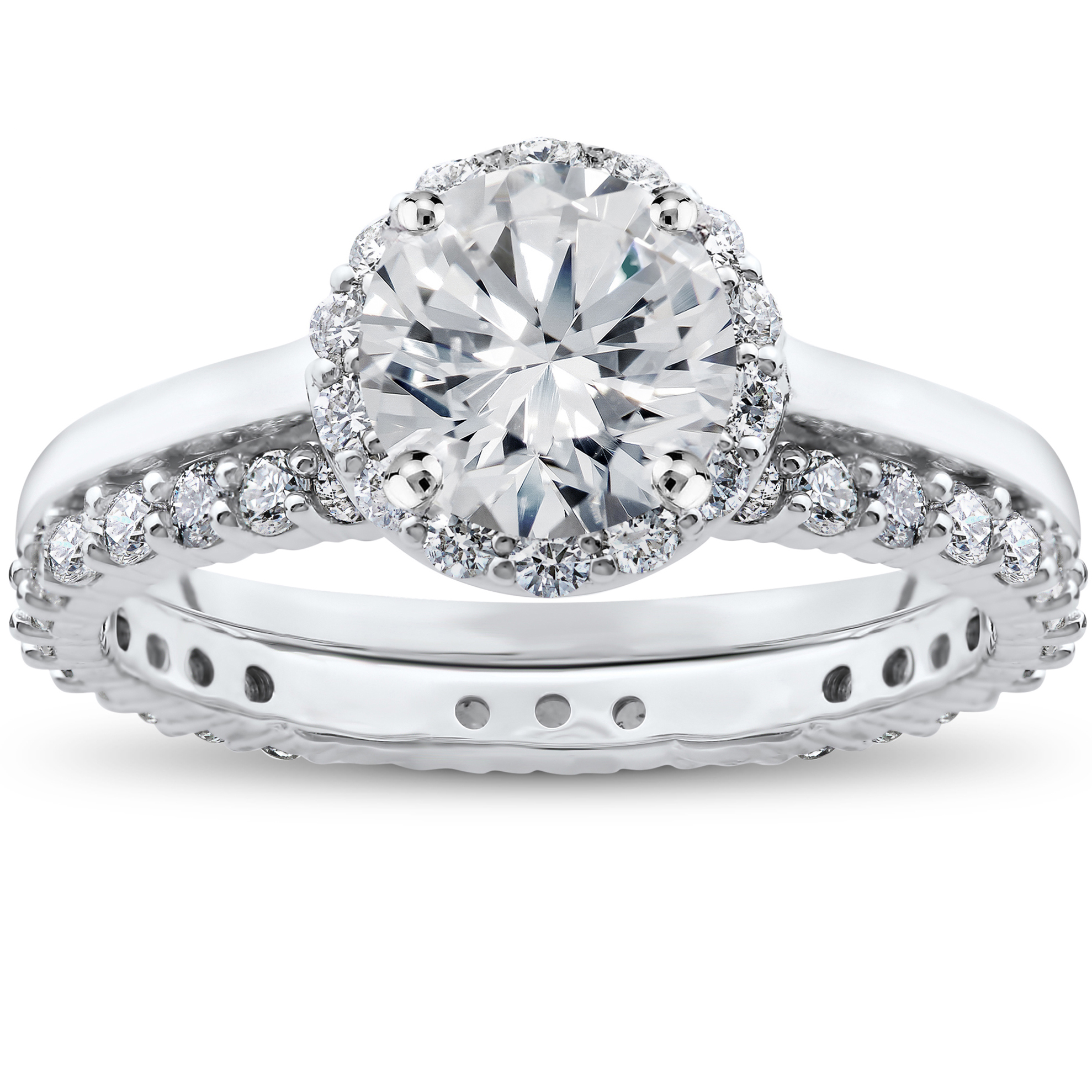 1 ct Diamond Madelyn Halo Engagement Ring Setting & Matching Eternity Ring