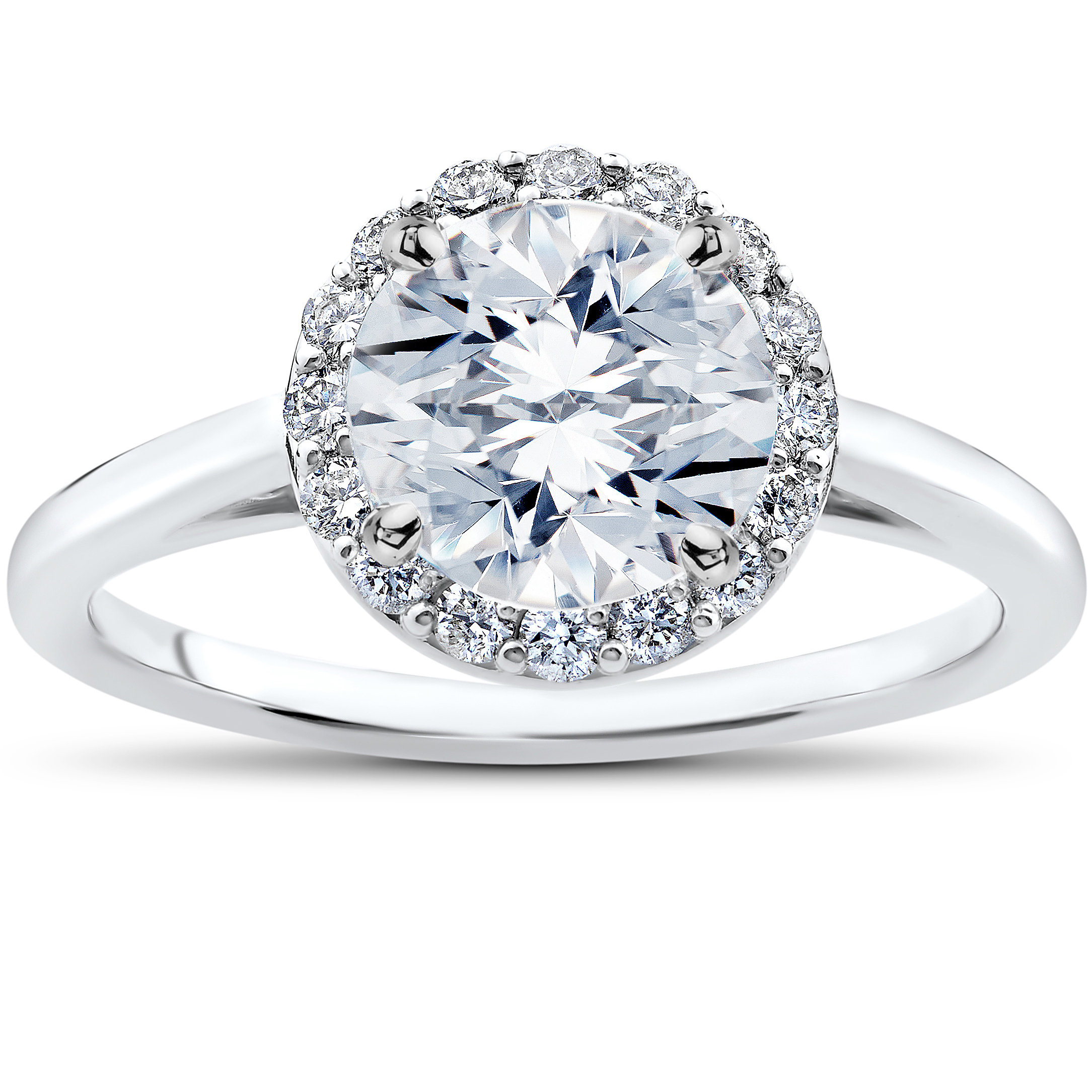 4 Ct Lab Grown Eco Friendly Halo Diamond Madelyn Halo Engagement Ring  14k