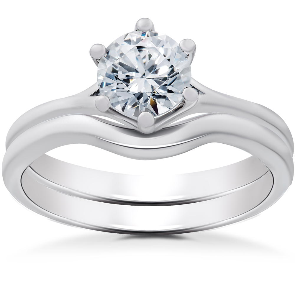 Carly Engagement Ring Solitaire Setting & Matching Wedding Band