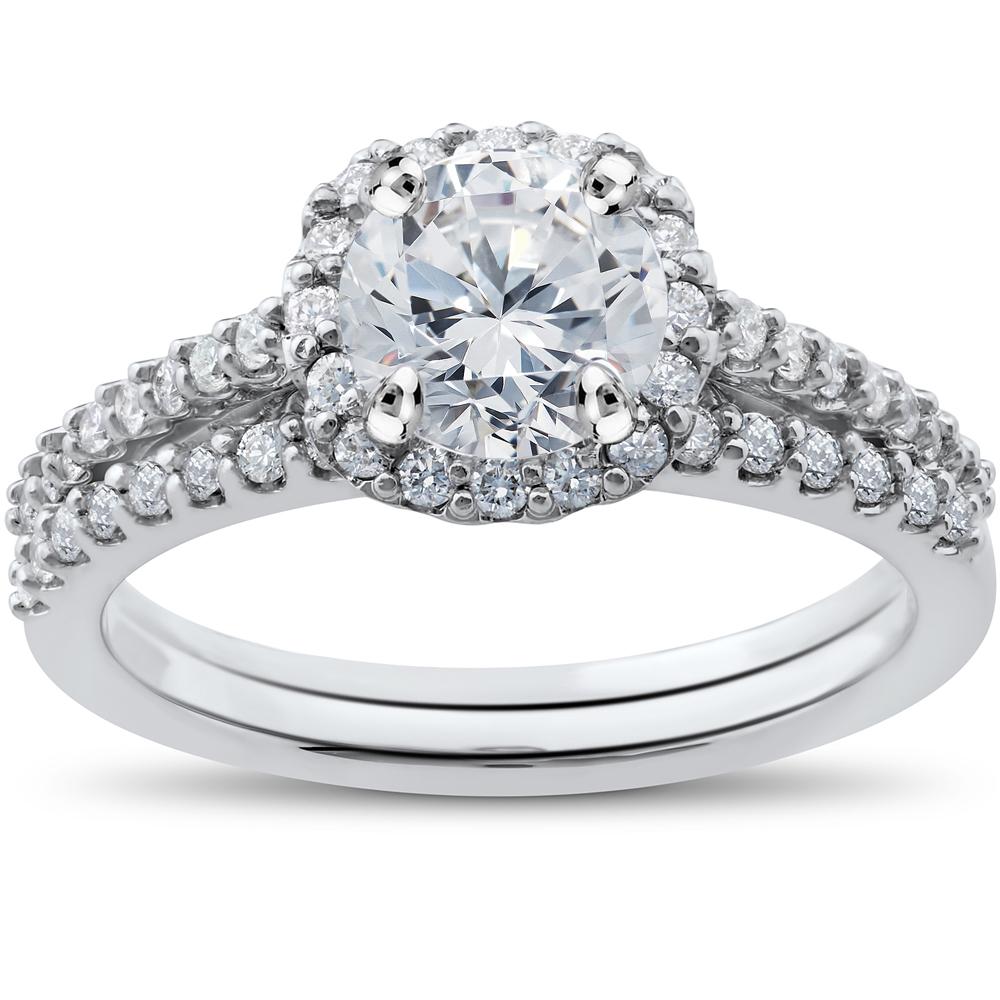 G/H SI 1/2ct Diamond Madison Cushion Halo Engagement Ring Setting & Wedding Band
