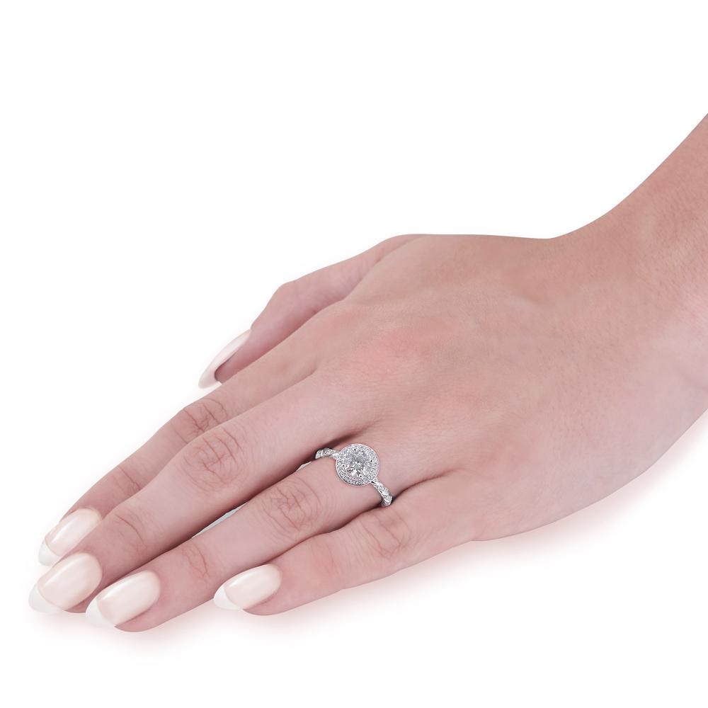 G SI 3/4 ct Lab Grown Diamond Halo Engagement Ring 14k White, Yellow ...