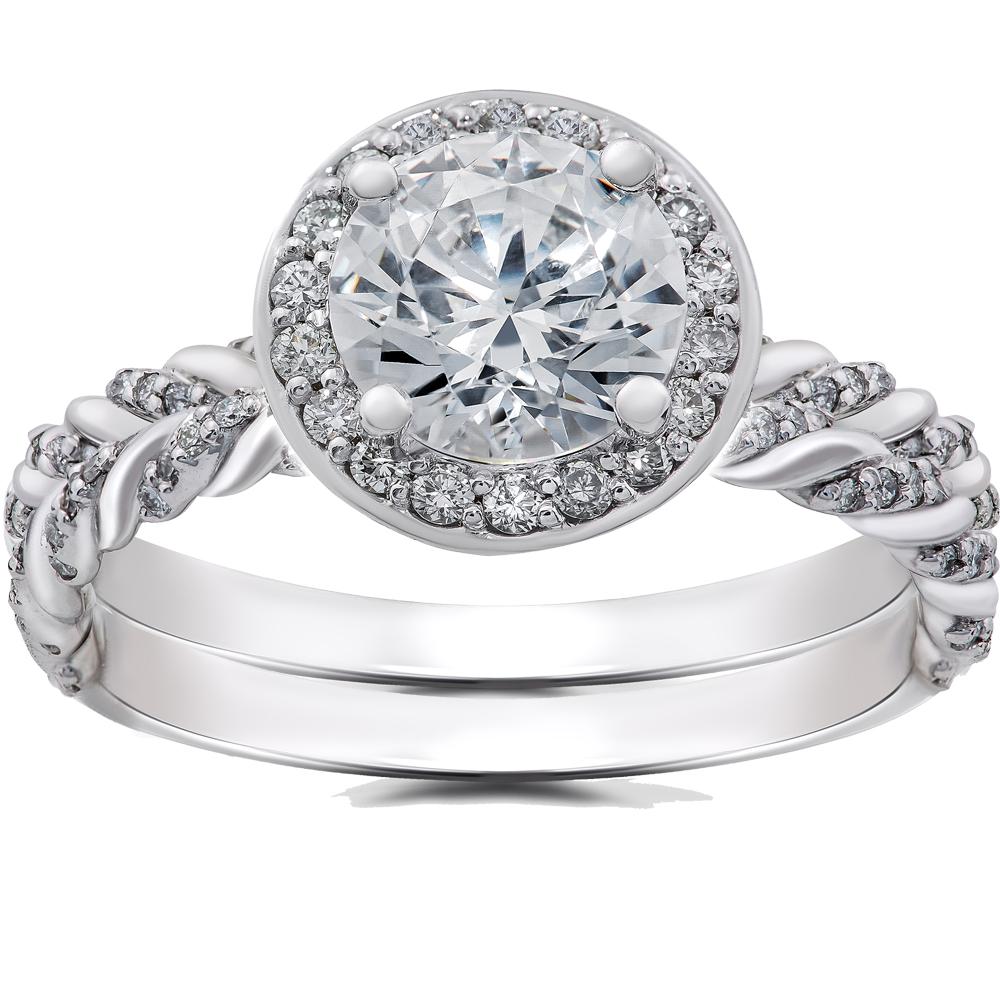 1/2 ct Diamond McKenna Halo Engagement Ring Setting & Matching Band