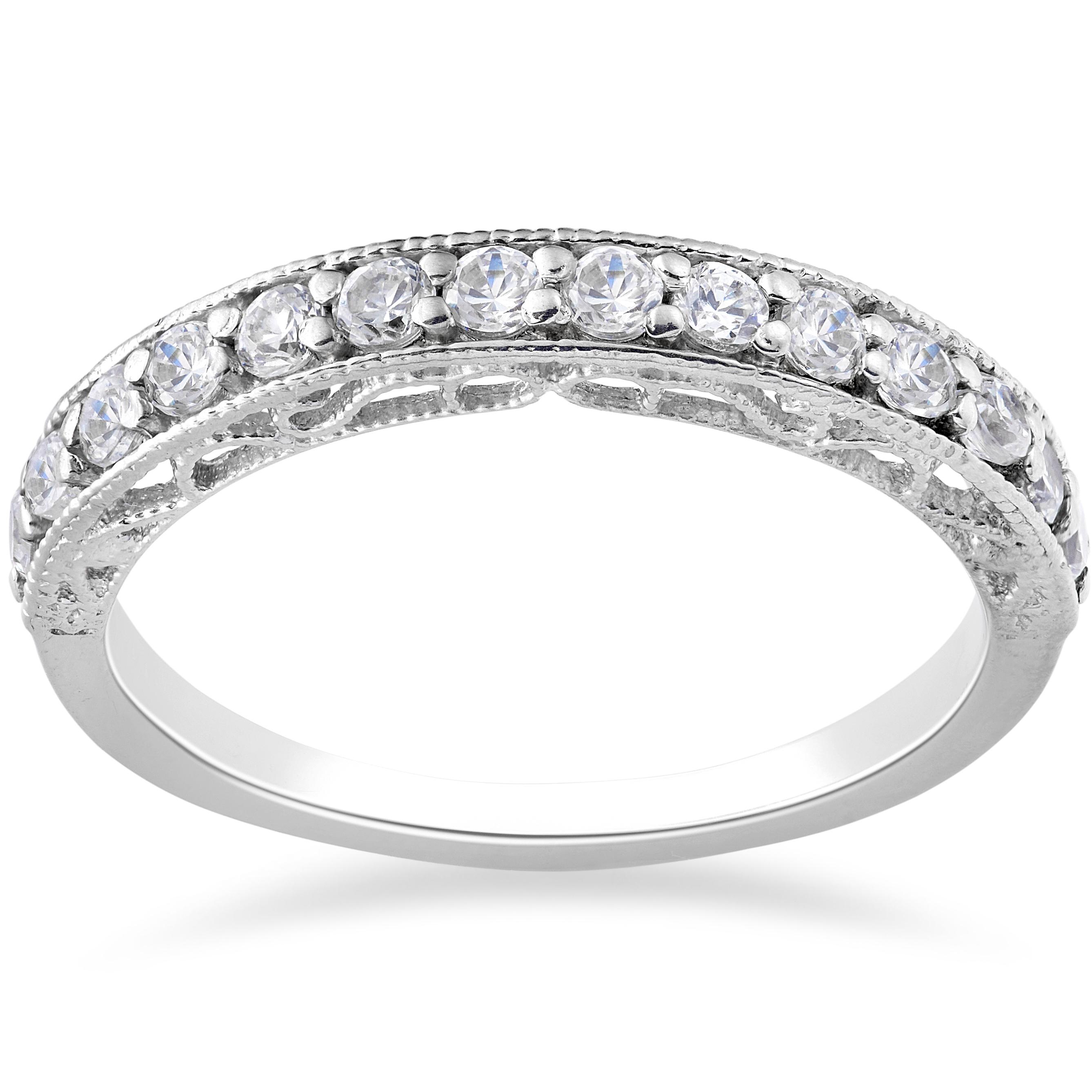 Vintage Wedding Ring: 1/2ct Vintage Diamond Wedding Ring 14K White Gold