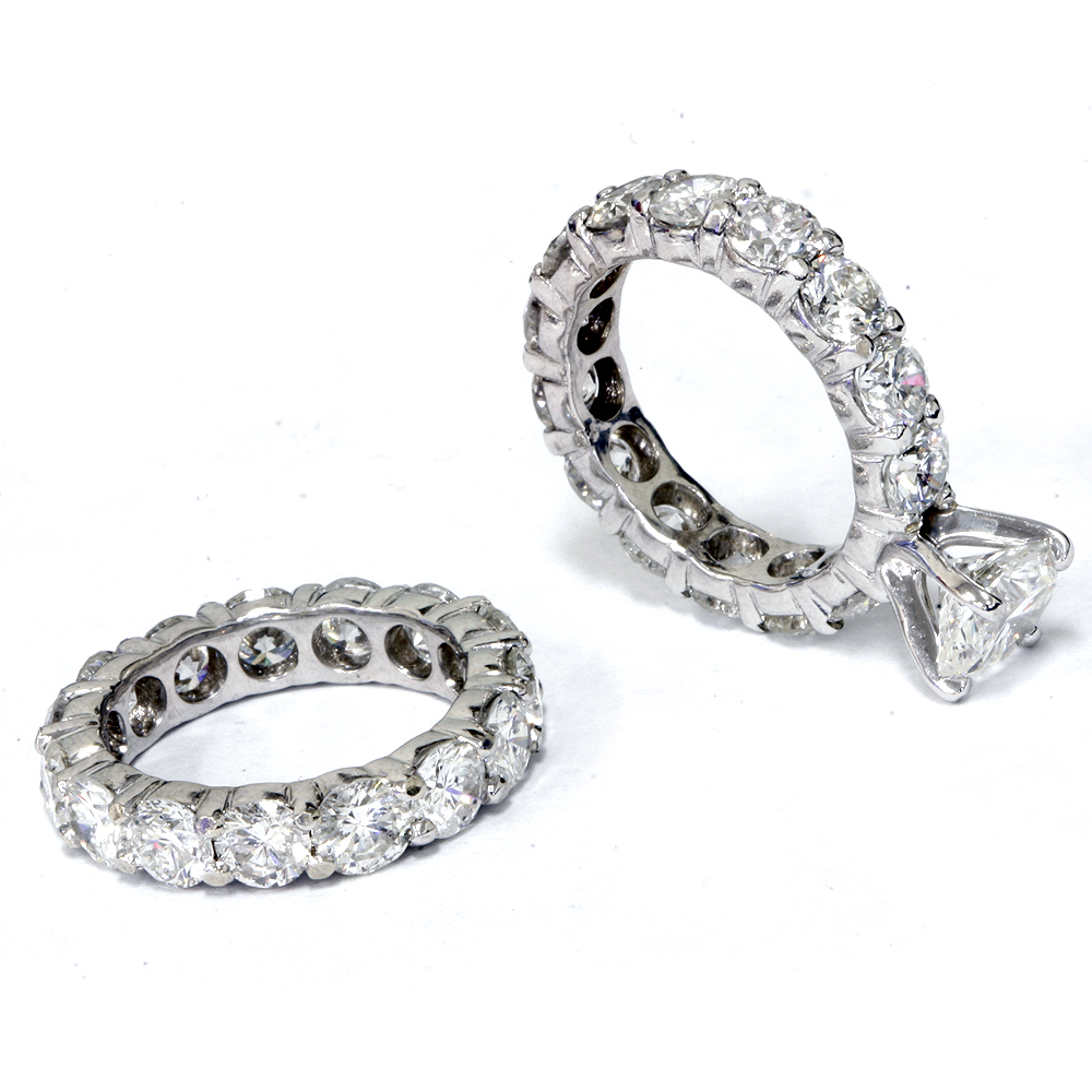 Eternity Ring Wedding Set: 9 1/2ct Diamond Eternity Engagement Ring Wedding Set 14k