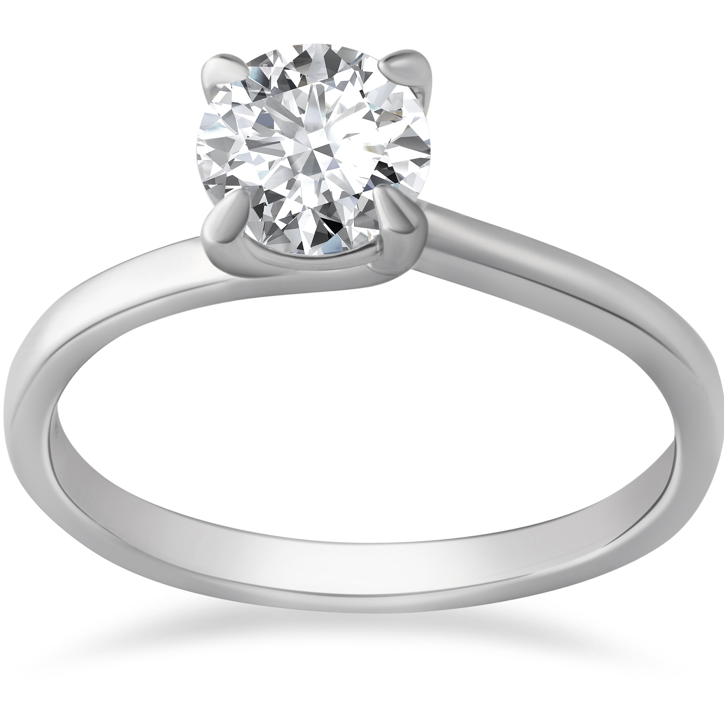 1 Ct Diamond Solitaire Engagement Ring 14k White Gold Round Cut Enhanced
