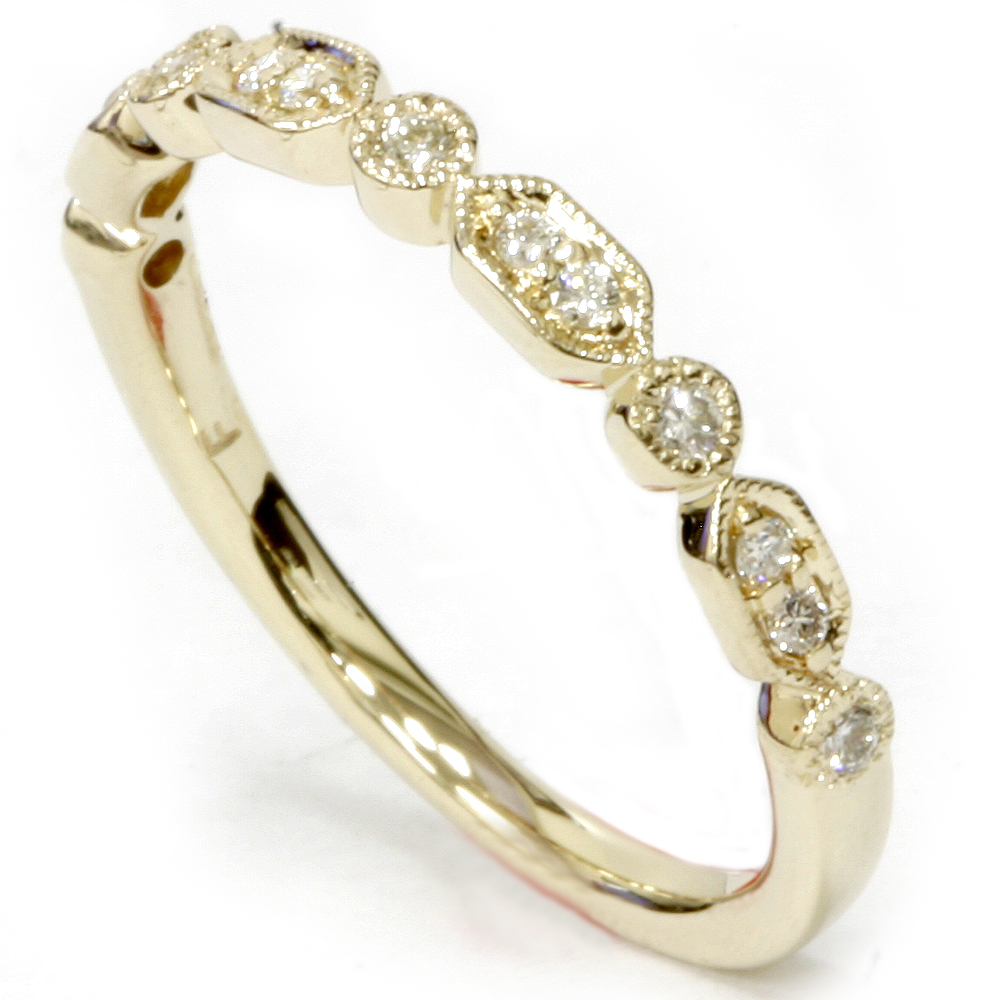 1 6ct Diamond Wedding Stackable Ring 14k Yellow Gold