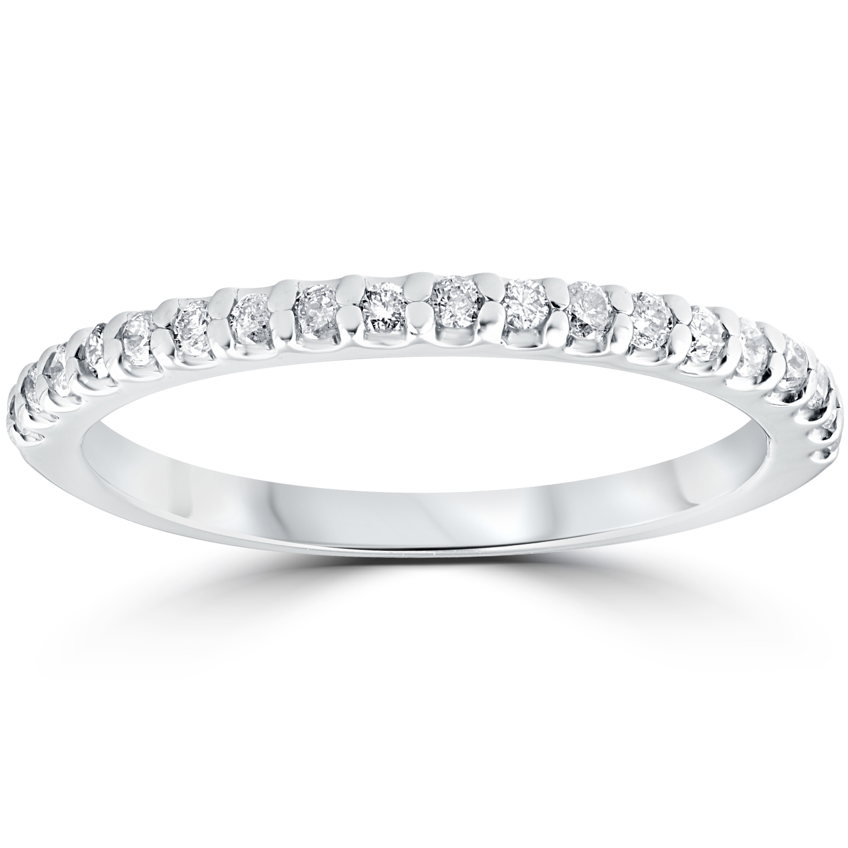1/5 cttw Diamond Stackable Womens Wedding Ring 10k White ...