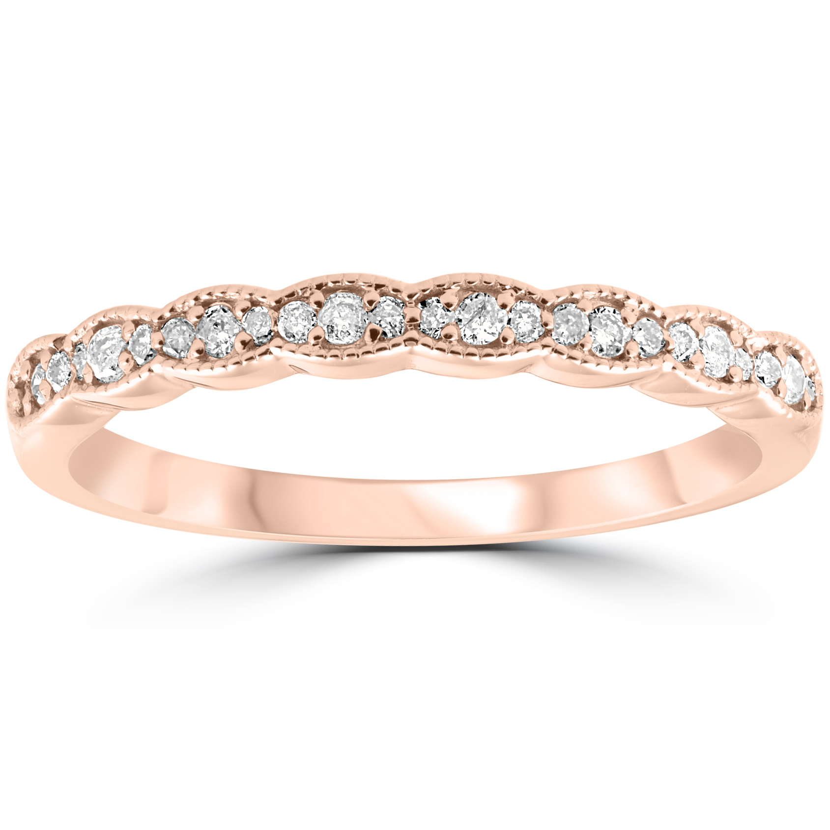 1 5 cttw diamond stackable womens wedding ring 14k rose gold. Black Bedroom Furniture Sets. Home Design Ideas