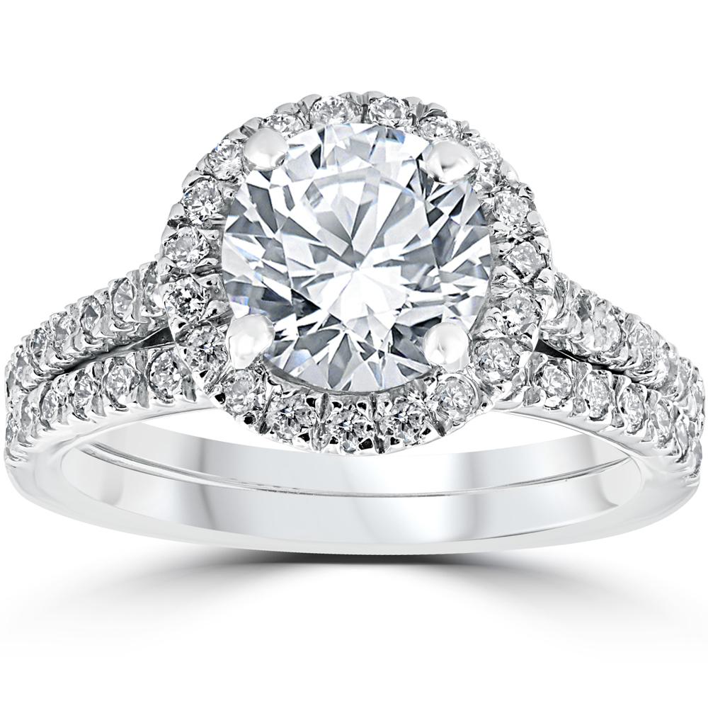 2 3 4 cttw halo engagement wedding ring set 14k