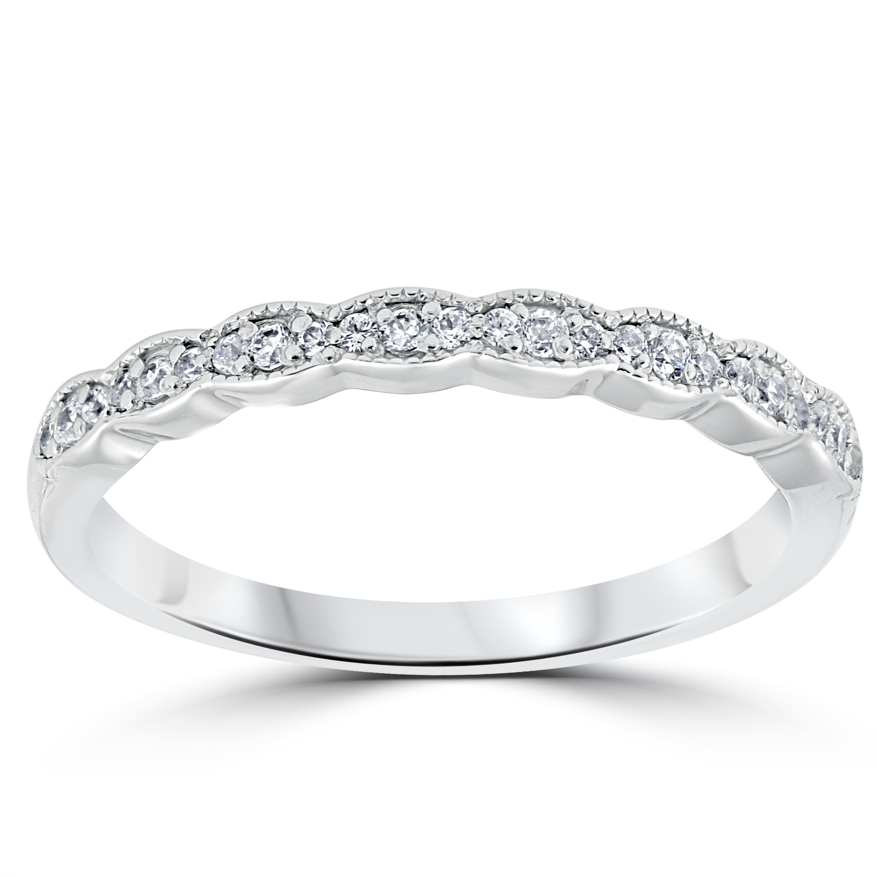 1/5 cttw Diamond Stackable Womens Wedding Ring 14k White ...