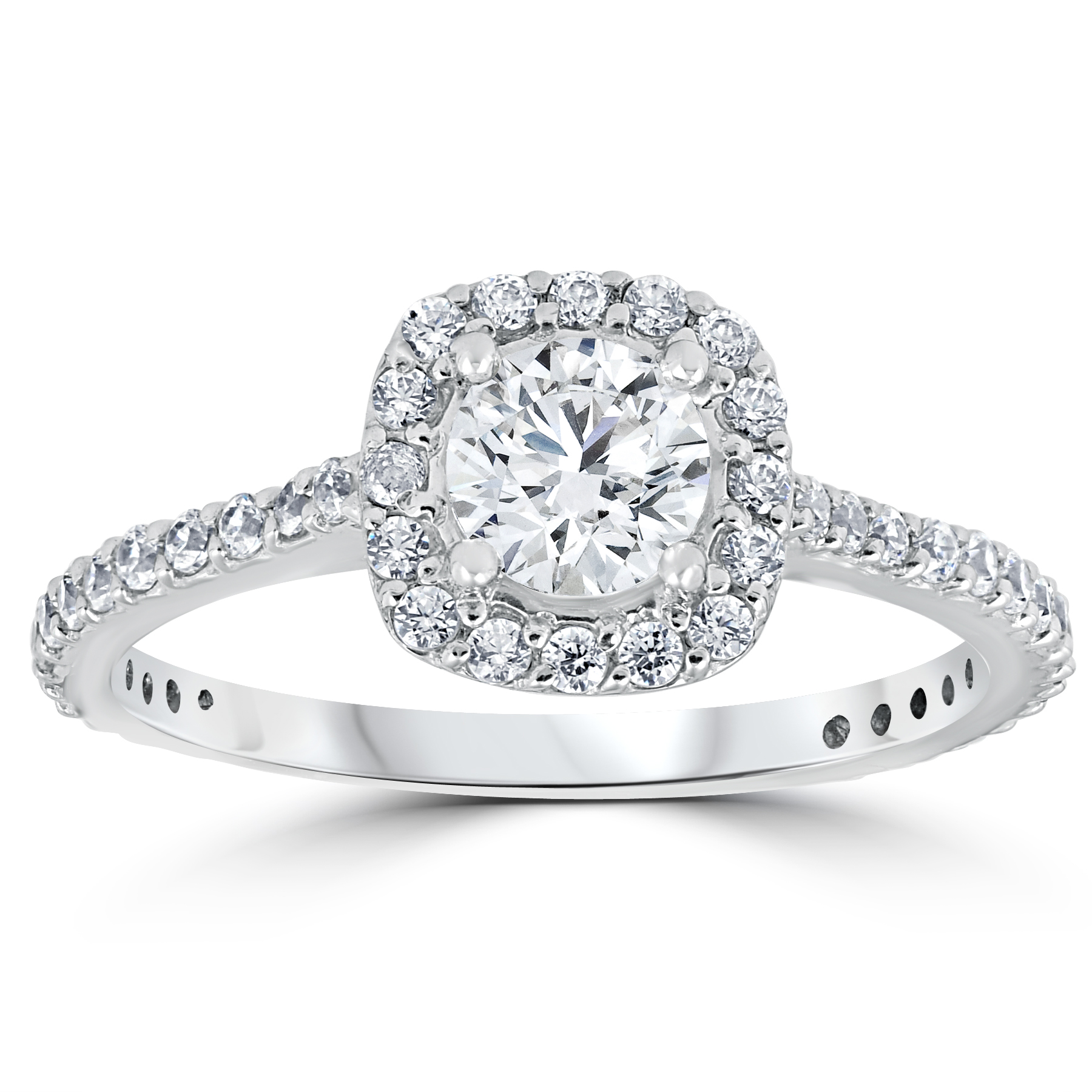 1 1 5ct TDW Cushion Halo Round Diamond Engagement Ring 14k White Gold Solitai