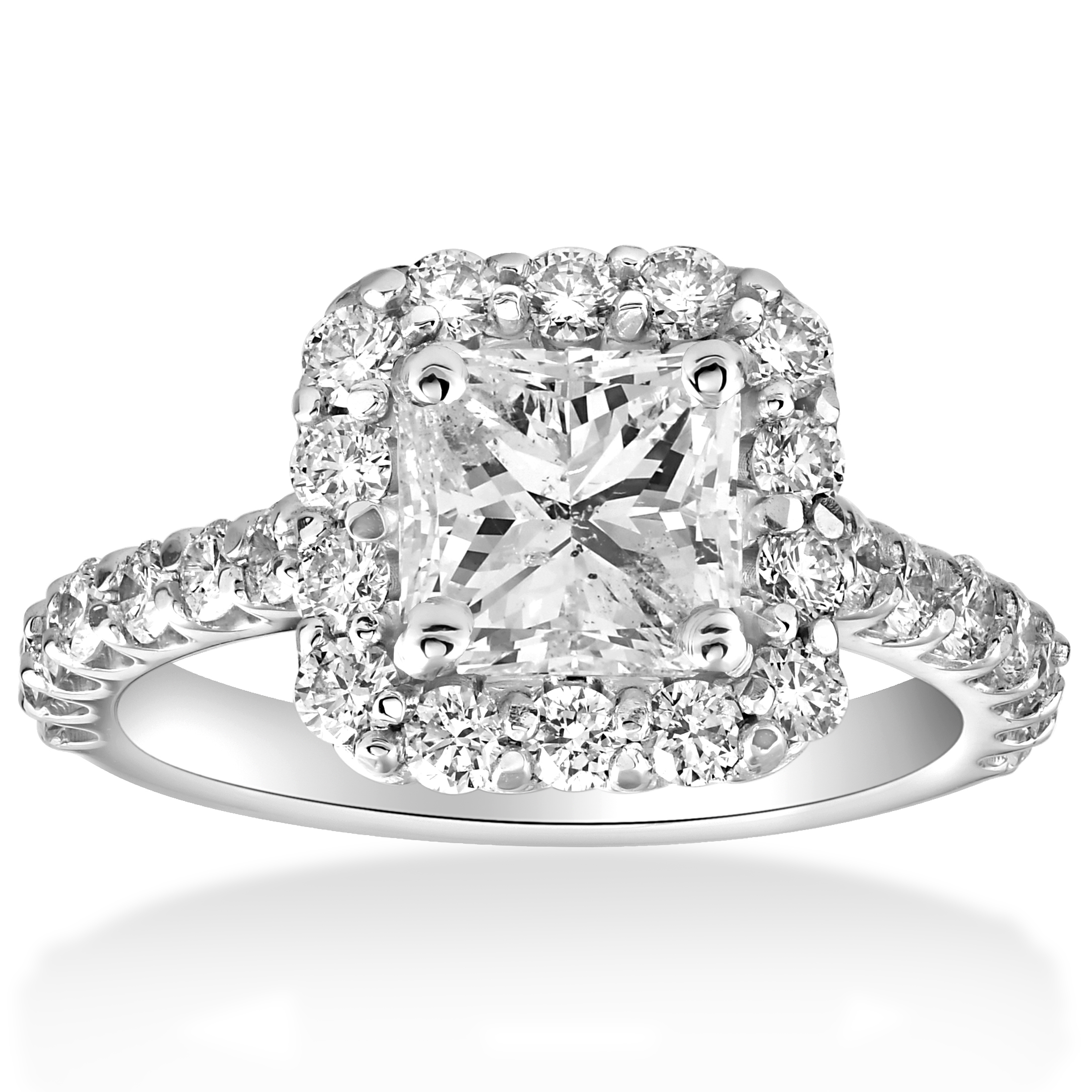 2 cttw Halo Princess Cut Solitaire Diamond Engagement Ring ...