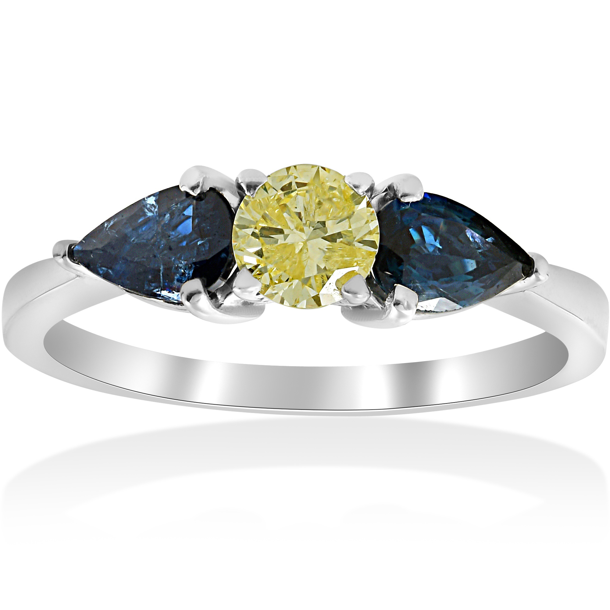 26d9d923cac251 Details about 1ct 3 Stone Fancy Yellow Diamond Pear Shape Blue Sapphire Engagement  Ring 14k WG