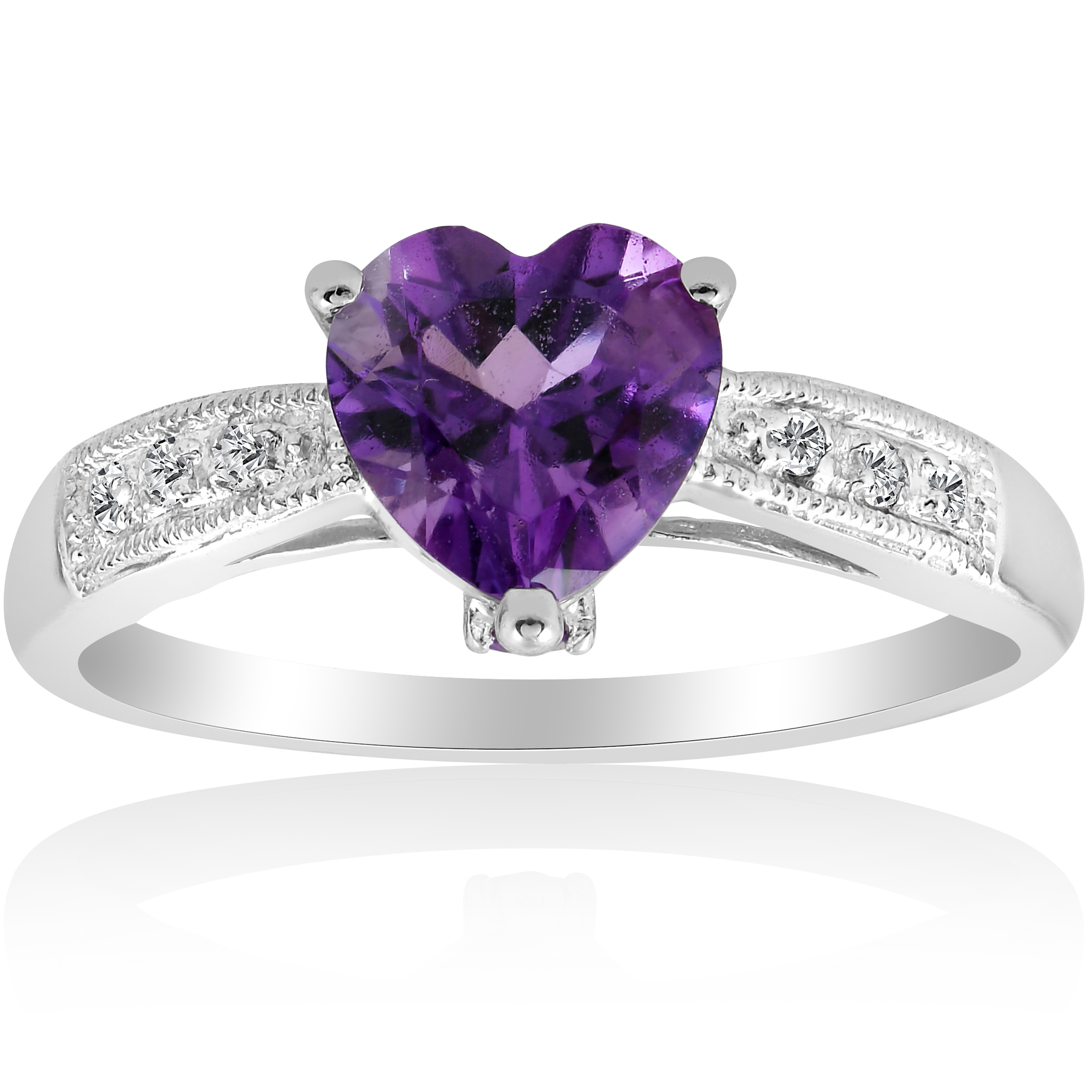 1ct heart shaped amethyst diamond ring 10k white gold ebay. Black Bedroom Furniture Sets. Home Design Ideas