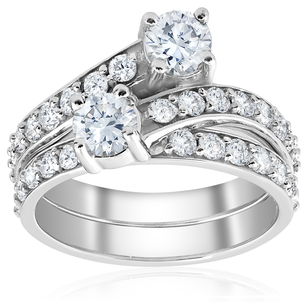 Stone Wedding Rings: 2ct Diamond Forever Us 2 Stone Solitaire Engagement Ring