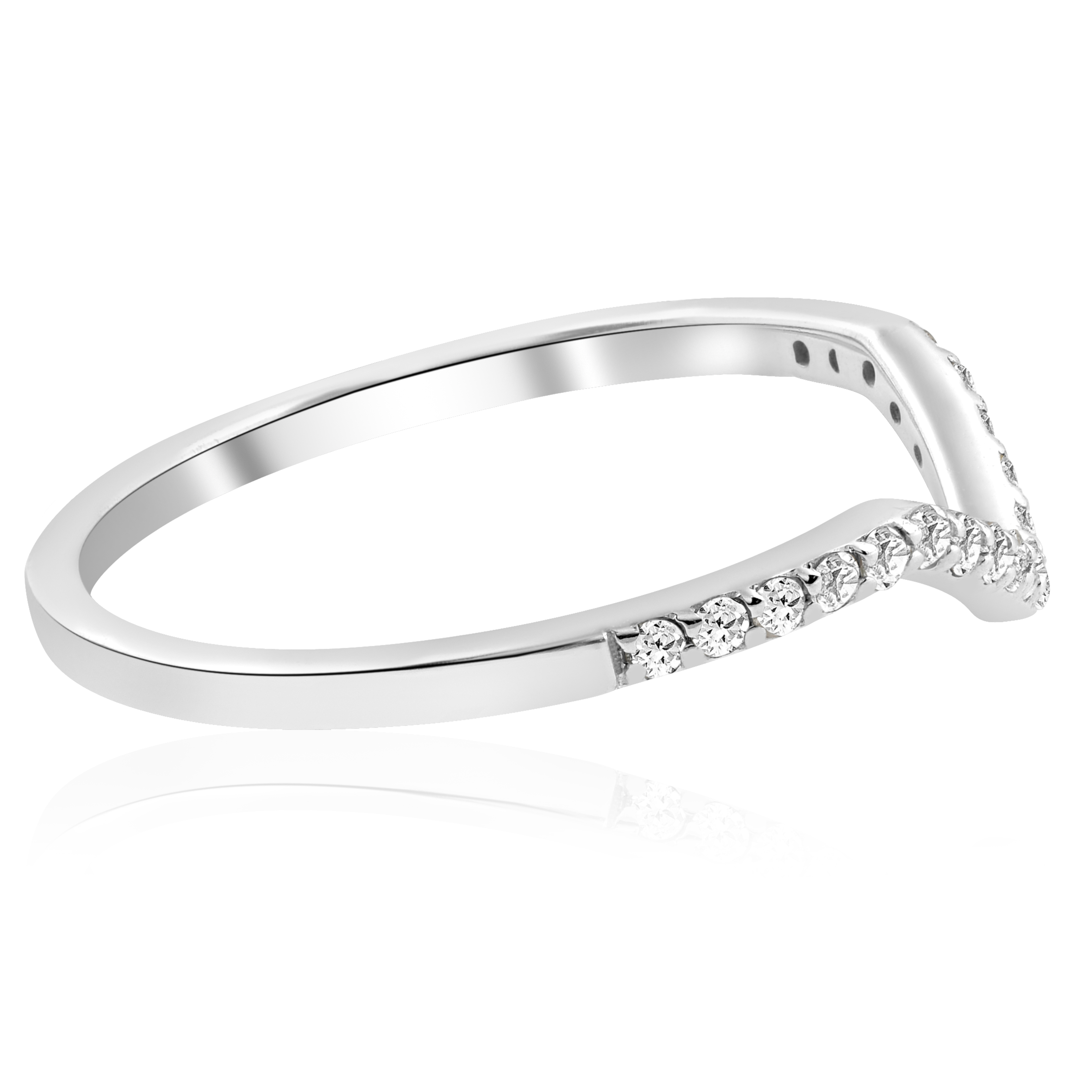 Curved Wedding Bands: 1/5ct Diamond Curved V Shape Wedding Ring Womens Stackable