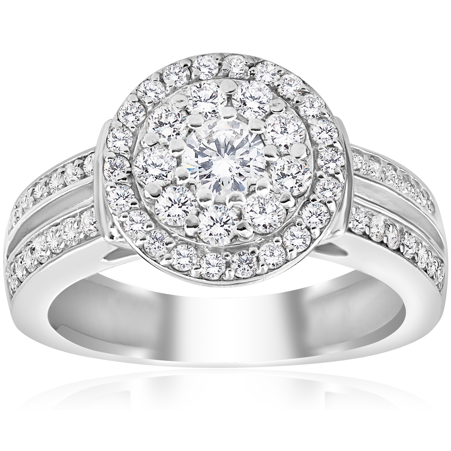 1 cttw diamond double halo engagement ring 10k white gold. Black Bedroom Furniture Sets. Home Design Ideas