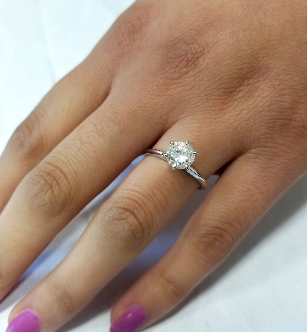 1 3 ct solitaire diamond engagement ring round jewelry. Black Bedroom Furniture Sets. Home Design Ideas