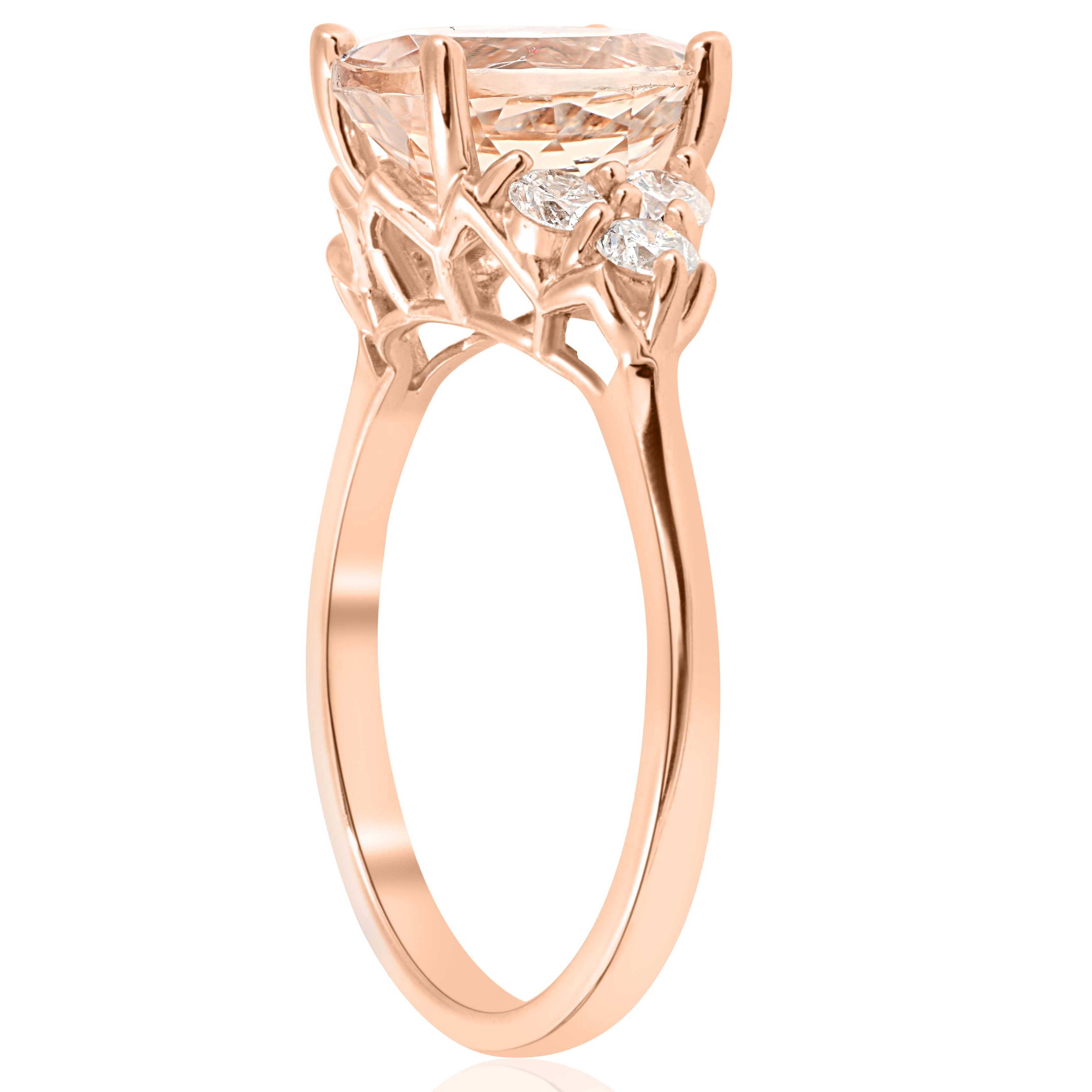 2 1 3 Cttw Oval Morganite Amp Diamond Engagement Ring 14k