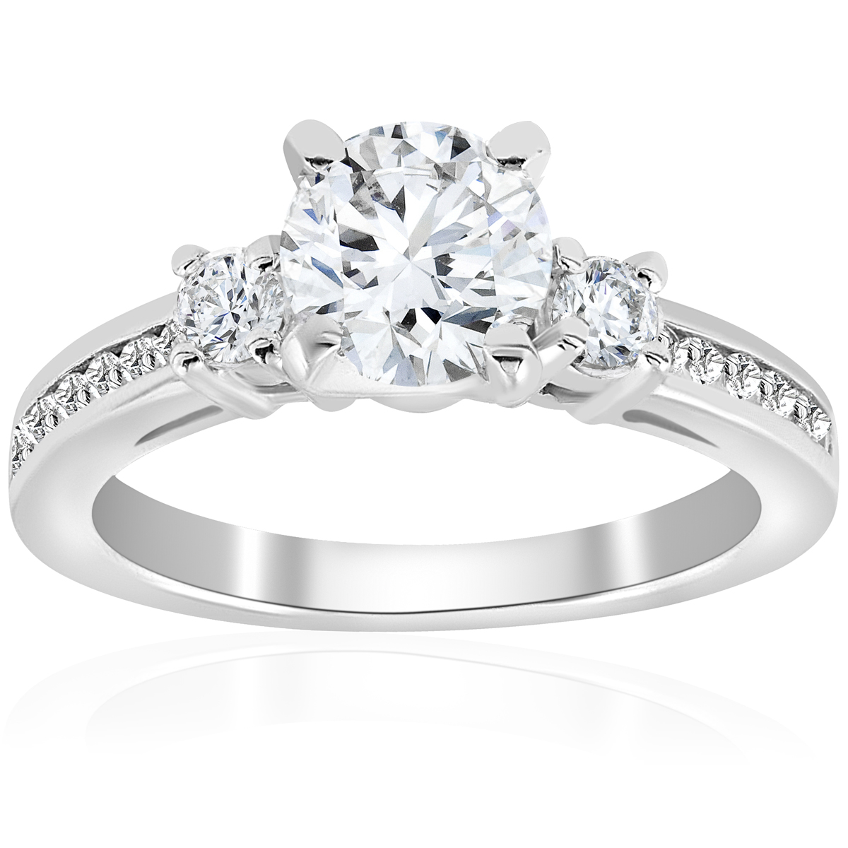 Stone Wedding Rings: 1 Ct Diamond Round Cut Solitaire 3 Stone Engagement Ring