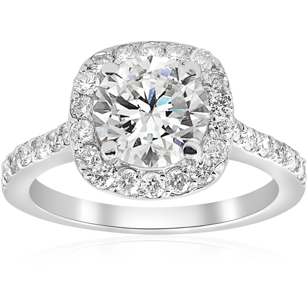 2 ct cushion halo diamond engagement ring vintage accent. Black Bedroom Furniture Sets. Home Design Ideas