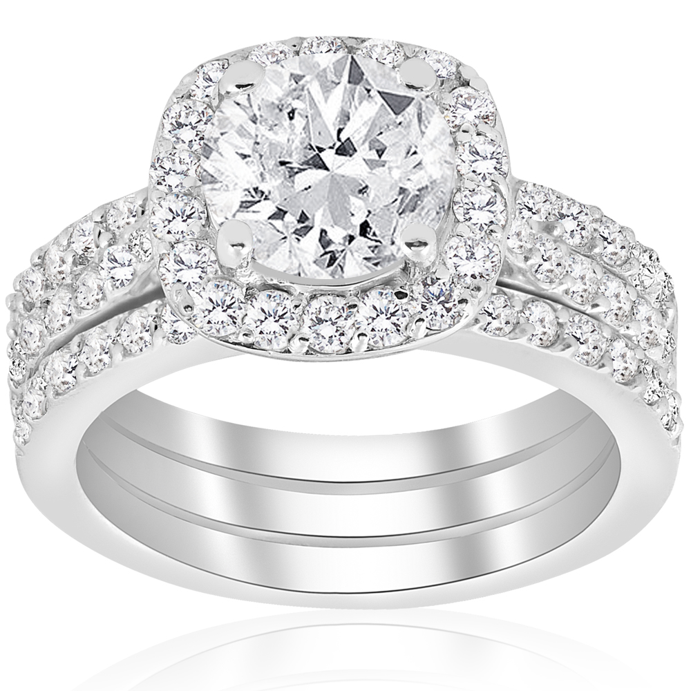 2 3 4ct cushion halo diamond engagement wedding ring set 14k white gold enhanced ebay. Black Bedroom Furniture Sets. Home Design Ideas