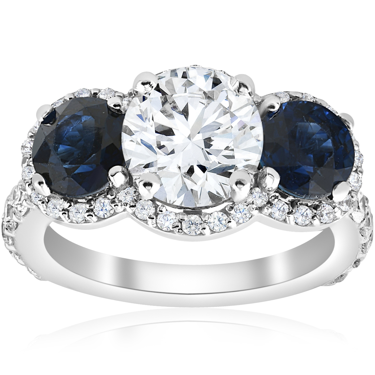 3 1 2 ct genuine sapphire diamond halo 3 stone. Black Bedroom Furniture Sets. Home Design Ideas
