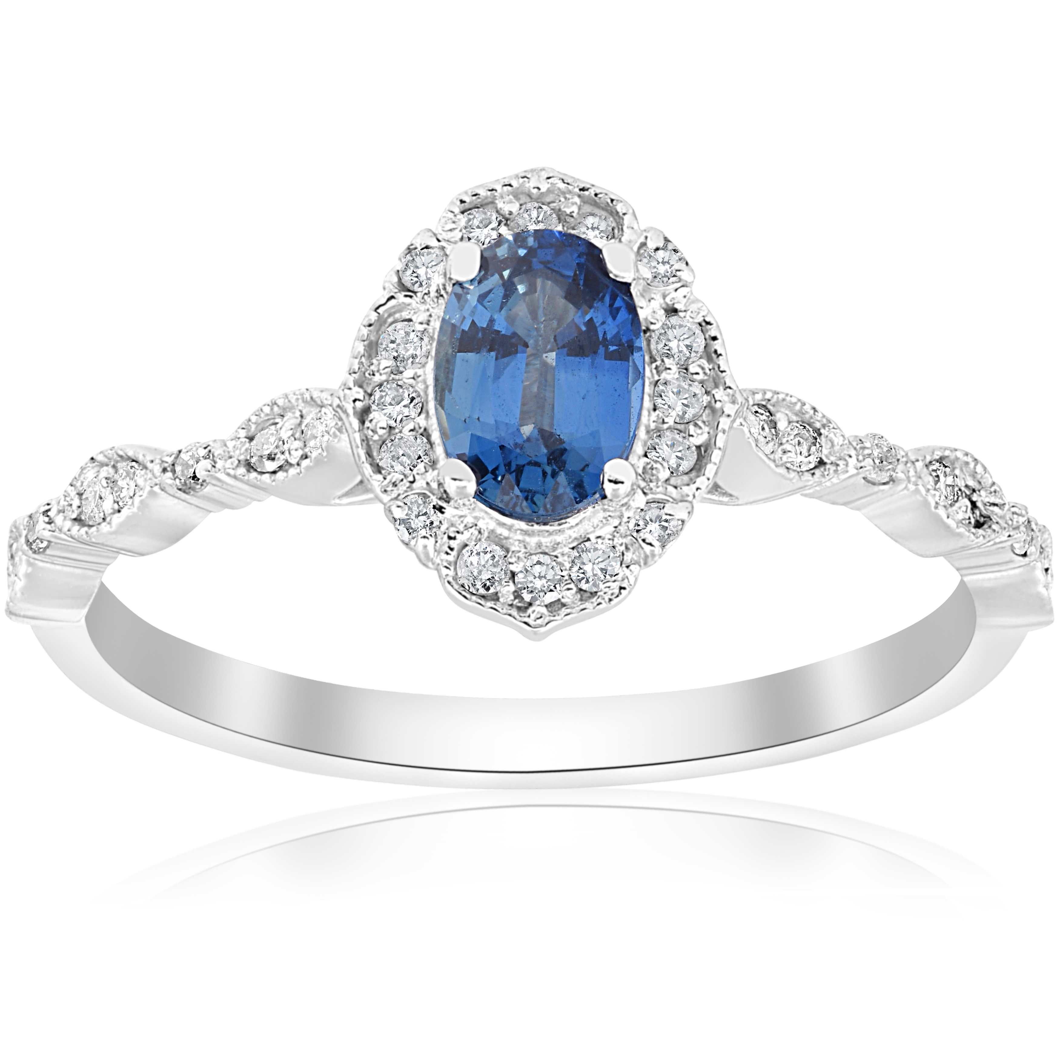 Blue Sapphire Vintage Halo Diamond Engagement 3 4ct Ring 14k White Gold Antiq