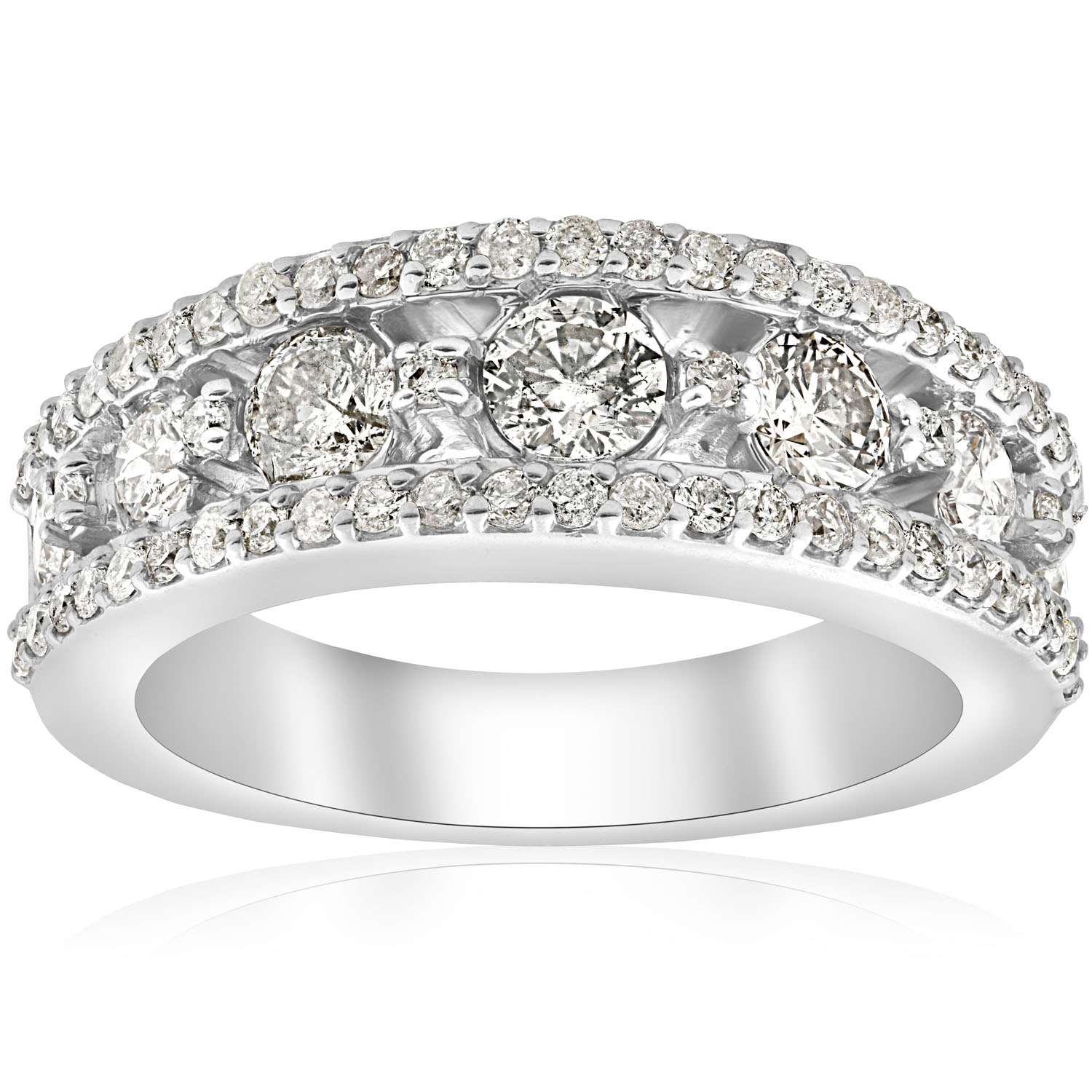 This is a picture of Details about 4445.445mm Wide 445 445/45ct Diamond Wedding Ring 4454k White Gold Womens Solid Heavy Band