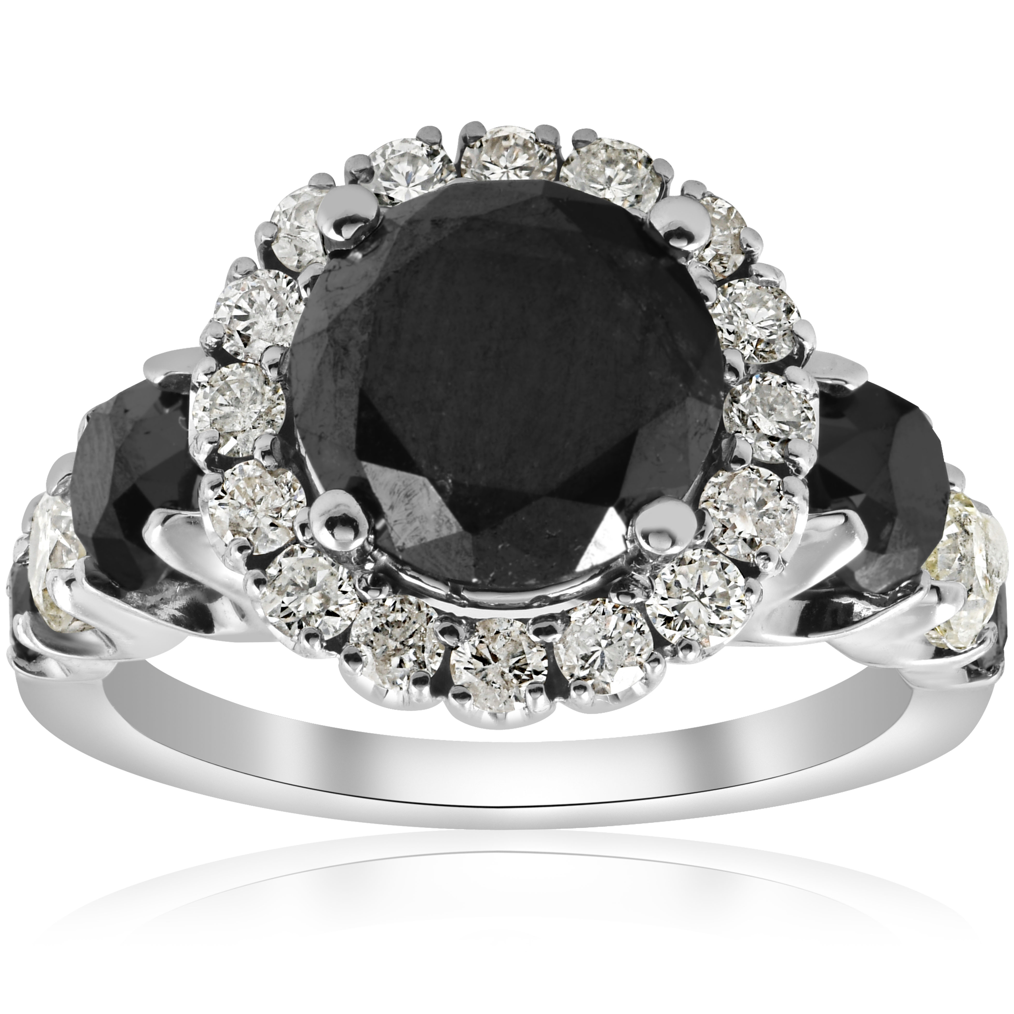 9e77e2ada6e55 Details about 5ct Black & White Diamond Halo Engagement Ring 14k White Gold  Jewelry Treated