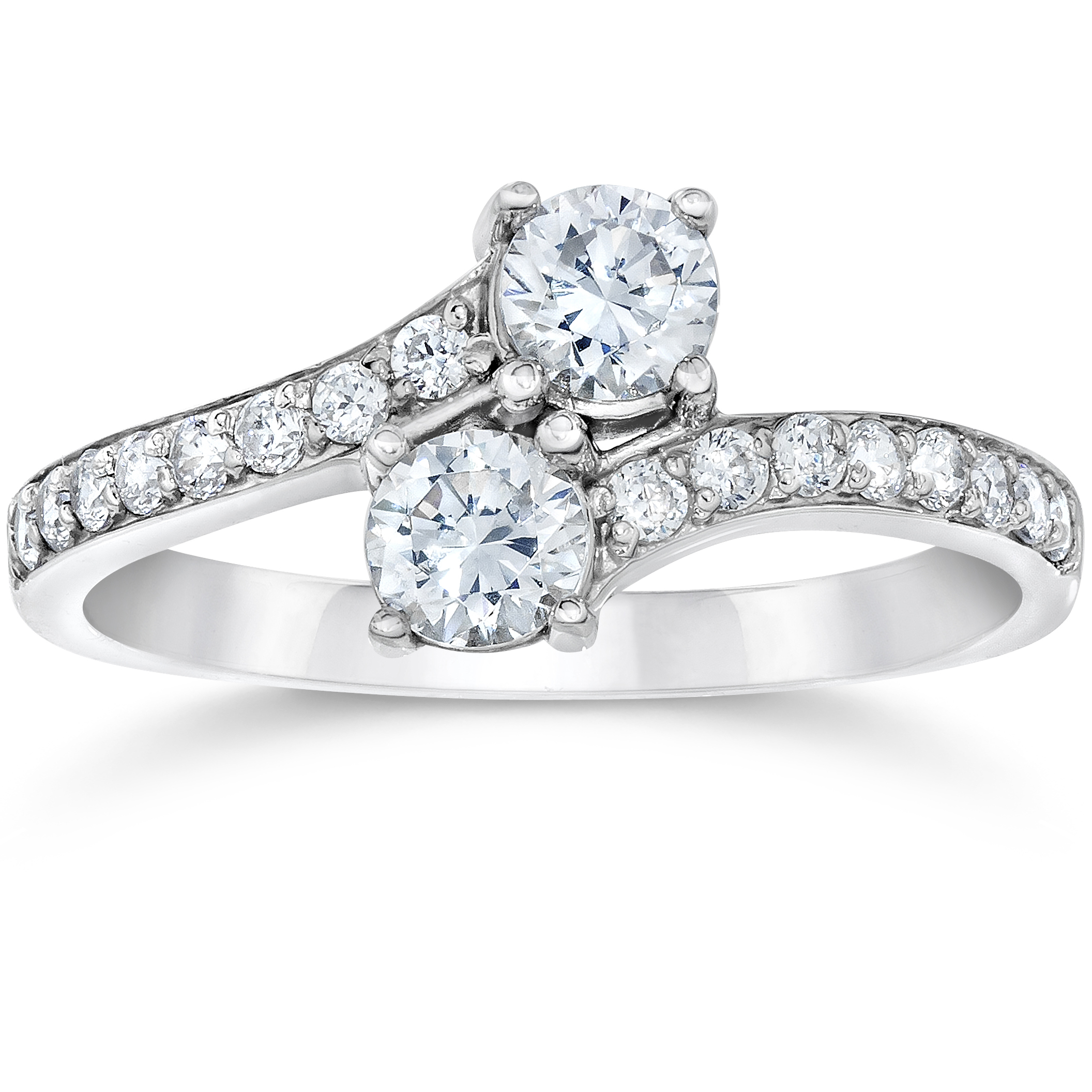 G Vs 1ct 2 Stone Forever Us Lab Grown Diamond Engagement Ring 14k White Gold