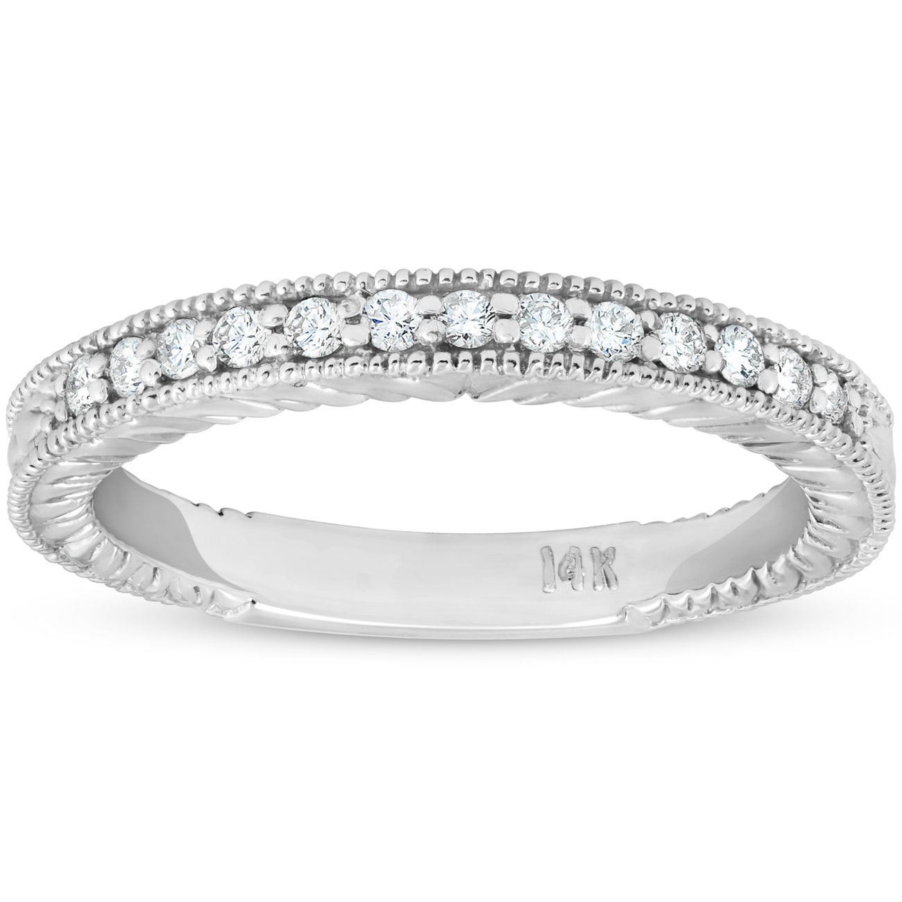 83ff24f48a710 Details about G/SI .20ct Diamond Vintage Womens Wedding Ring Stackable 14k  White Gold Band