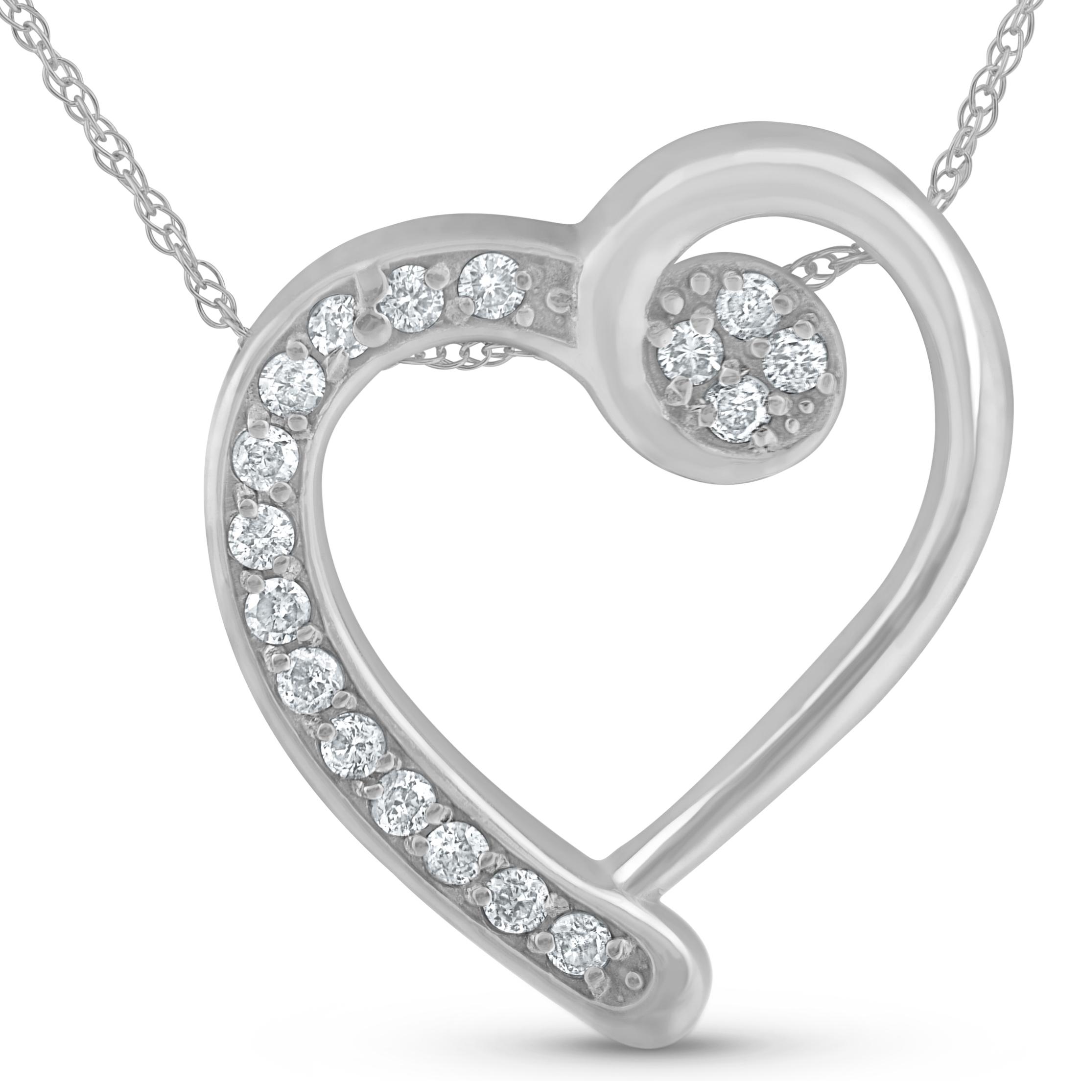 32e851f8a5e6f Details about 1/4ct Diamond Heart Pendant 14k White Gold